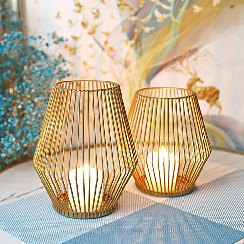 Juego de 2 candelabros creativos vintage, portavelas de metal decorativo, candelabros, candelabros, candelabros, candelabros, bodas, Navidad, candelabros ovalados (prismáticos dorados)