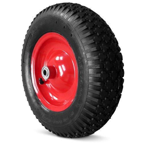 Deuba Schubkarrenrad luftbereift 4 Gewebeeinlagen 4.80/4.00-8 Ø 390mm 200 kg 95mm Breite Ersatzrad Reifen