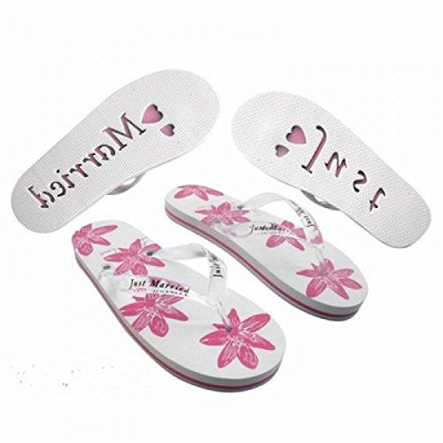 X45 Damen Groß UK 6–8 EU 39–43 Honeymoon Flip Flops Weiß & Pink Floral Design