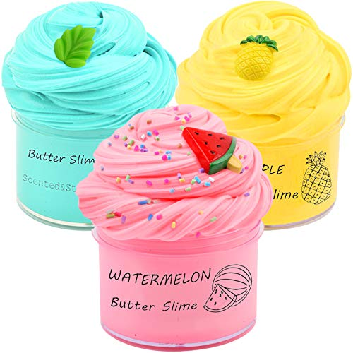 Partyforu 3 Pack Butter Slime Kit, with Yellow Color Pineapple Slime, Watermelon Slime and Mint Slime, Super Soft and Non-Sticky, Birthday Gifts for Girl and Boys…