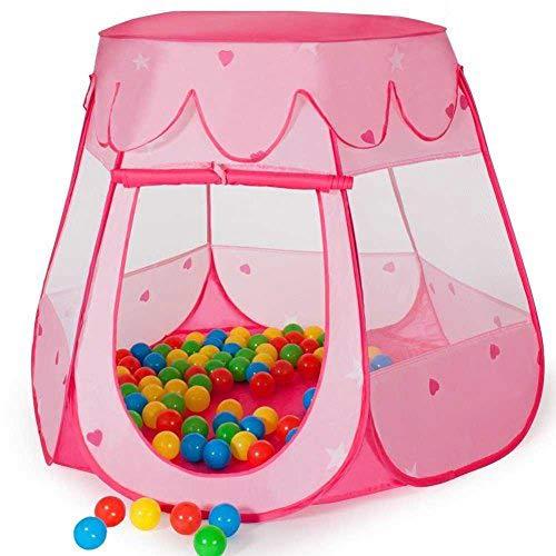 BAKAJI Tenda per Bambini Bambine Principi Principesse Pop Up Richiudibili Igloo Tunnel Casetta con Palline Colorate (Tenda Principessa)