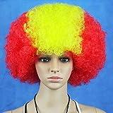 OverTop - Peluca sintética para fiesta de cosplay, bandera nacional de España, para aficionados a la Copa del Mundo