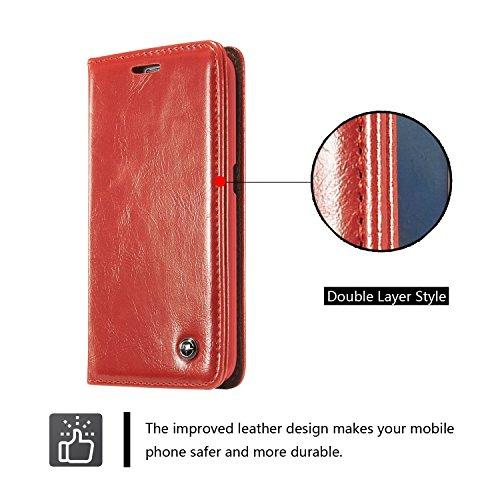 Zhanying pour Samsung Galaxy A7 2016 A710 De Business Style PU Portefeuille en Cuir Magnétique Conception Solide Couleur Premium Flip Case Couverture avec Carte Slot/Stand (Couleur : Rouge)