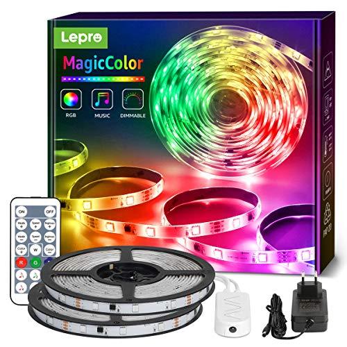 Lepro 20M Musik LED Strip(2x10M), MagicColor LED Streifen Band, 5050 SMD LED Stripes, 12V, Selbstklebend Lichtband mit Fernbedienung, Flexibel LED Leiste, LED Lichterkette für Haus,Party,Bar