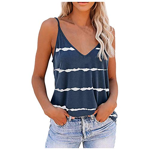 Tie Dye Tank Tops for Women Sleeveless V Neck Camisole Shirt Summer Spaghetti Cool T-Shirt Casual Workout Tees