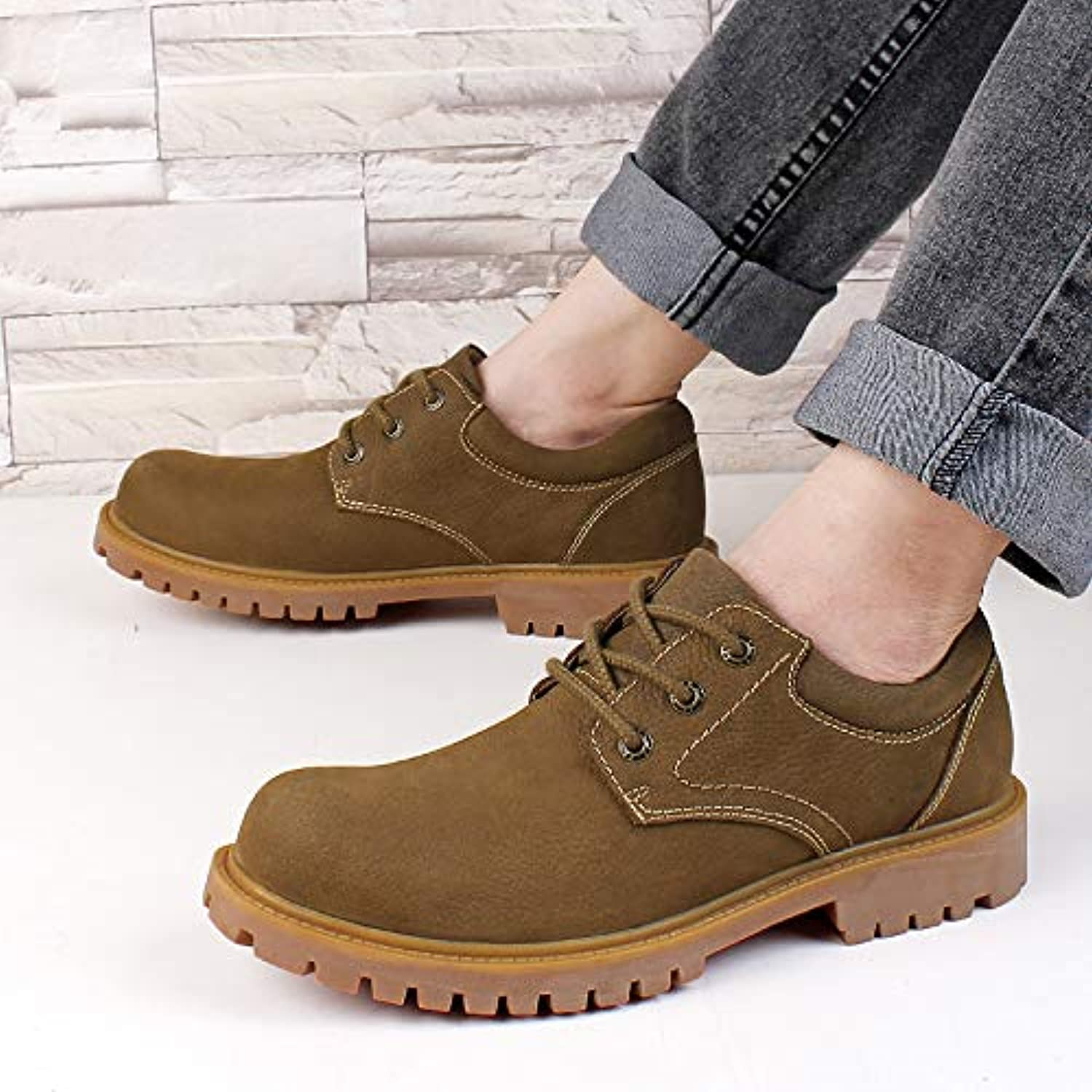 ZyuQ Ankle boots Tooling shoes Men'S shoes Plus Large Low To Help Pu Martin Boots Large Size Rhubarb shoes