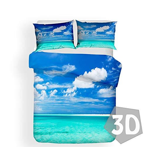 Fansu Juego De Ropa De Cama 3D Vacaciones, Poliéster Microfibra Funda De Edredón Cremallera, Confortable Funda Nórdica Funda De Almohada, Cama 90/135/150 (Cielo Azul,150 * 200cm(2pc))