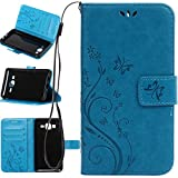 Harryshell Galaxy On5 Case, (TM) Butterfly Flower PU Leather Wallet Protective Flip Pouch Case Cover with Card Slots & Stand for Samsung Galaxy On5 (A-05)