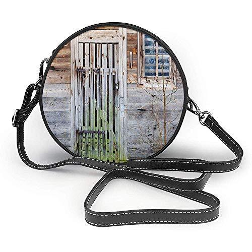 TURFED Bolso redondo de PU Primitivo país descuidado antigua casa de campo rústica Puerta y ventana de madera rural Bolso de hombro de plata rural