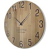 Wanduhr groß Natur 50cm Durchmesser holzoptik 100% Eiche, Holz modern, Wohnzimmer, ohne tickgeräusche