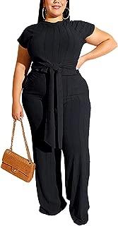 Aro Lora Women's Plus Size 2 Piece Jumpsuit Knit Short Sleeve Crop Top Wide Leg Pant Set Outfit