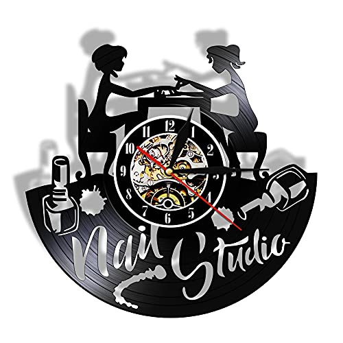 LED 7 Farben Wanduhren Nail Art Schallplatte Nagelstudio Studio Business Logo Decor Vinyl Lp Silent Manicurist Geschenk mit Licht