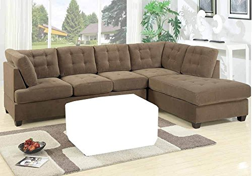 Poundex Beige Suede Microfiber Fabric Sectional Sofa, Brown
