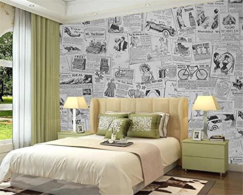 XaseTextiles Papel Pintado Gris Moda Periódico Patrón Papel Pintado No Tejido Mural De Efecto 3D Pared Pintado Papel Tapiz...