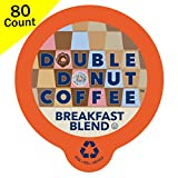 Double Donut Breakfast Blend Coffee, Fresh Medium Roast Coffee, Single-Serve Pods for Keurig K Cup Brewer Machines, 80 Capsules per Box
