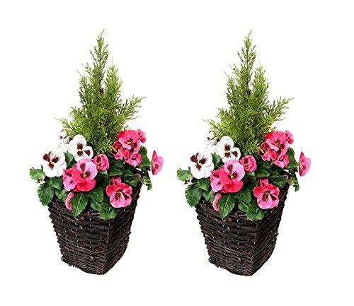 : Künstliche Terrasse Pflanzgefäßen, Pink & Weiß Blumen & Konifere/Zeder Formschnitt (Set von 2)