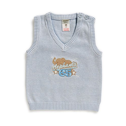 JACKY baby gebreide trui vest lichtblauw met olifant (74)