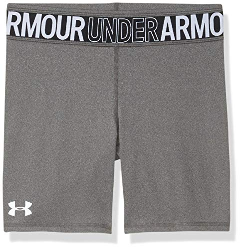 Under Armour Girls' HeatGear Armour Heather Bike Shorts , Jet Gray Light Heather (010)/White , Youth Large