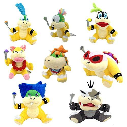 Yijinbo 8X Super Mario Bros Koopalings Peluche bebé Bowser Lemmy Larry Roy Wendy O. Morton Larry Iggy Peluche Animal Suave