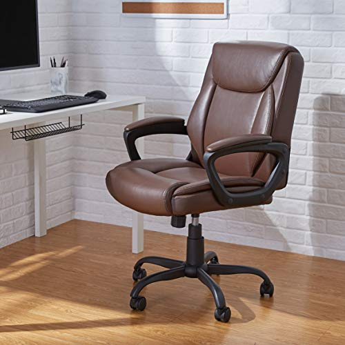 Amazon Basics Classic Puresoft PU-Padded Mid-Back Office Computer Desk Chair with Armrest - Brown