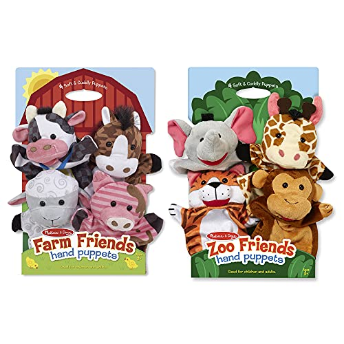 Melissa & Doug Hand Puppet Bundle - Farm And Zoo Friends