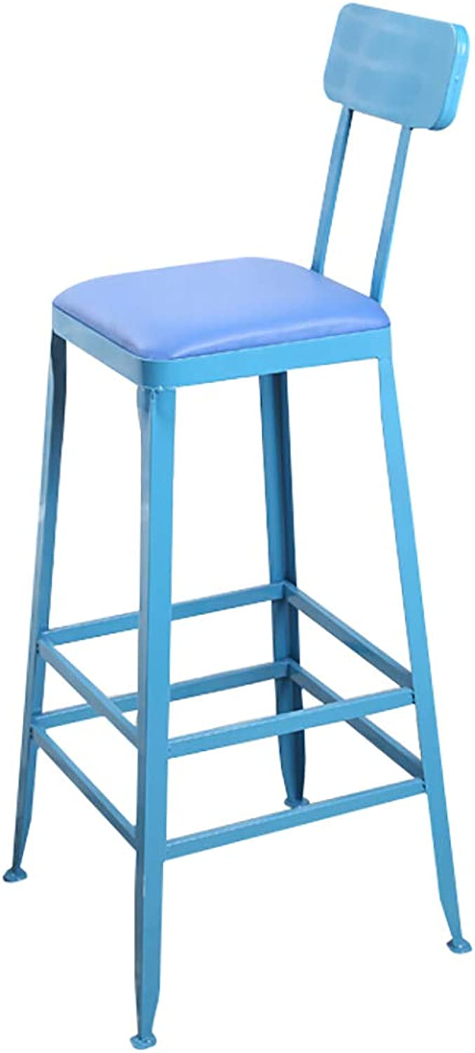 Barstools Chair Metal Legs, Footrest with Backrest Artificial Leather Seat, Dining Chairs for Breakfast Restaurant Pub   Cafe Bar Stool   Max Load 150kg, bluee,Sitting Height  65cm 75cm