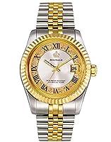 Women 's Watch Luminous防水クオーツシルバーゴールド2トーンステンレススチールDressブレスレットWatch ホワイト