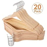 Elong Home Solid Wooden Hangers 20 Pack, Wood Suit Hangers with Extra Smooth Finish, Precisely Cut Notches & Chrome Swivel Hook, Wooden Clothes Hangers for Shirt Coat Jacket Dress