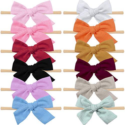 Baby Haarband Baby Stirnbänder mit Bögen, VIKEDI 12 Stück Baby Mädchen Haarband Haarbänder Nylon Haargummis, Babyschmuck Baby Stirnbänder Leinen Haarschleifen Haarband für Neugeborene Kinder