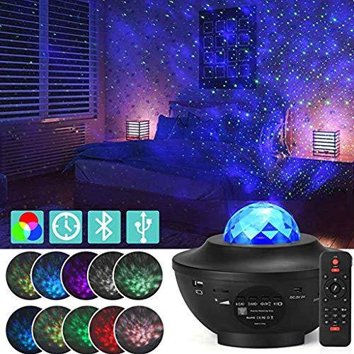 LED-Stern-Projektor-Lampe Bluetooth Remote + Sound Control Musik-Nachtlicht Laser Sternenhimmel Wasser Flamme Licht Bühnenlampen 3.16
