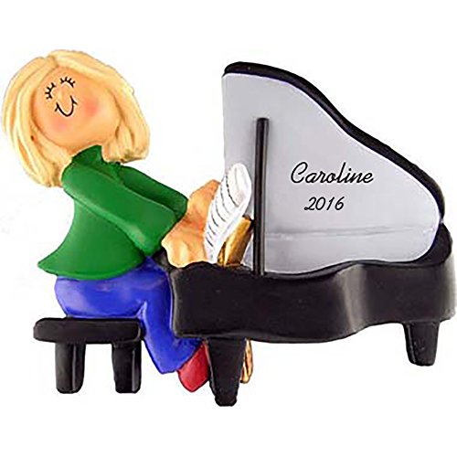 Calliope Designs Piano Personalized Christmas Ornament - Female - Blonde Hair - Handpainted Resin - 4' Tall - Free Customization
