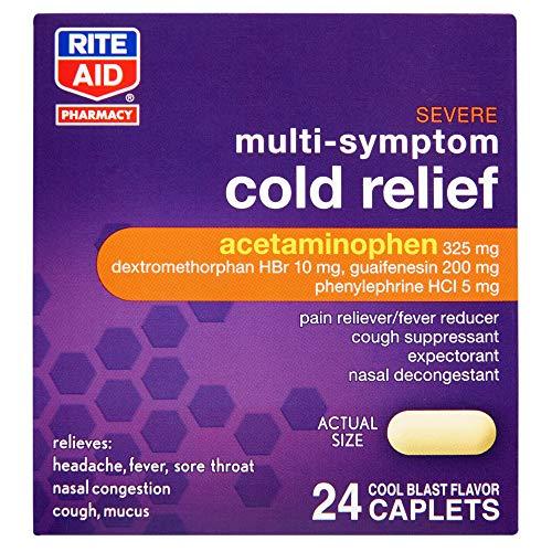 Rite Aid Severe Multi-Symptom Daytime Cold Medicine, Cool Blast Flavor - 24 Caplets | Cold Relief