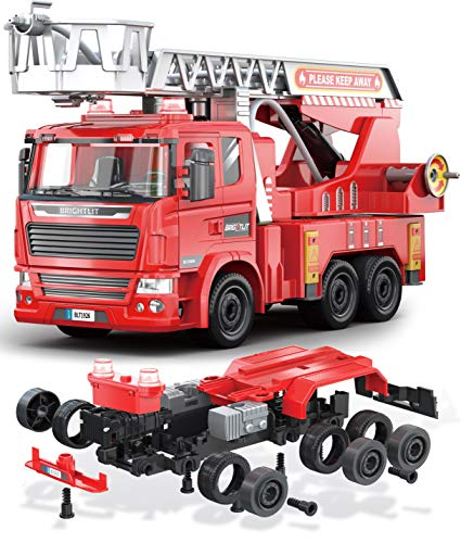 Fire Engine Ladder Truck -Take Apart STEM Toys Build Your Own DIY Building Assembly Kit w/ Realistic Lights and Sounds - Educational Gift Idea for Kids Ages 5 6 7 8 9 Years Old