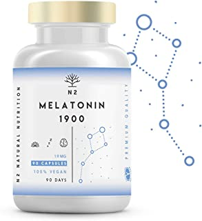 Melatonina Pura 1,9 mg, 5HTP Griffonia, Vitamina B6. Facilita la Conciliación