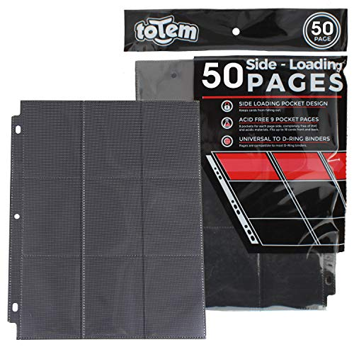 Totem World 50 Side Load 9-Pocket Pages for Pokemon, Magic, YuGiOh Card Holder - Fits 3 Ring Binder (Black) image