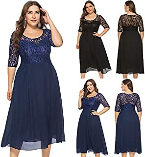 Extaum Women Plus Size Long Dress Chiffon Lace Patches Half Sleeve Slim Elegant Large Size Party Midi Dress Dark Blue/Black