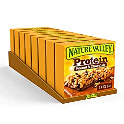 Protein snack bar, ideal for on-the-go snacks or a post workout treat Nature Valley protein cereal bar High in protein, high in fibre, gluten free; containing 20 Percent of your daily protein needs Better tasting bars with no artificial flavours, col...