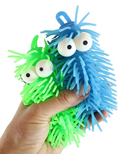 2 Short Light-Up Puffer Worm with Bulging Eyes - Sensory Fidget Toy - Autism Flashing Indoor Soft Hairy Air-Filled Sensory Toy Puffer Balls - Stress Balls - OT Autism SPD (Random Colors)