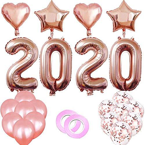 Coogg Digitale stervormige folieballon, 24 stuks, 40 inch, roségoud, zilver, 4D, kerstfeest, decoratie, leveringen Wie gezeigt rozerood