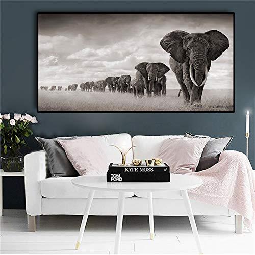 ZHANGFBH Leinwand Gemälde Schwarze Elefanten Wilde Tiere Leinwand Gemälde Skandinavien Poster Und Drucke Wandkunst Bilder Für Wohnzimmer