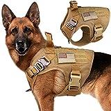 Stpiatue Tactical Dog Harness Vest Escape Proof Harness Military Vest No Pulling K9 Working Training Pet Vest for Medium Large Dogs(L)
