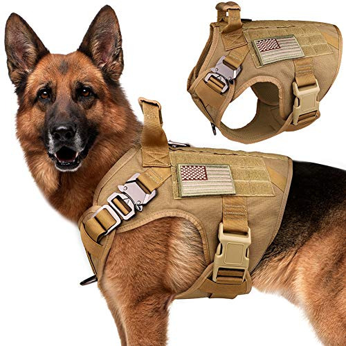 Stpiatue Tactical Dog Harness Vest Escape Proof Harness Military Vest No Pulling K9 Working Training Pet Vest for Medium Large Dogs(L)