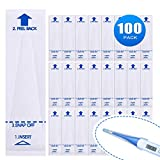 Digital Thermometer Covers 100 pcs, Disposable Electronic Thermometer Probe Cover Protective Cap Sleeve for Oral, Rectal, Underarm Thermometer for Baby Kids Adult Animal Body Temperature Measuring