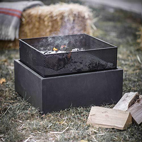 CKB LTD Quadratische Feuerstelle für den Außenbereich, moderner Terrassenheizer, Brenner, 38 x 55 cm, hitze- und frostbeständig, pulverbeschichteter Stahl und Faserton – für Holz und Holzkohle