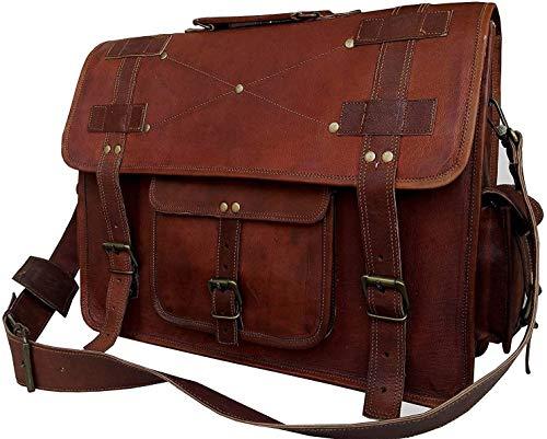 18 Inch Vintage Computer Leather Laptop Messenger Bags for Men Leather Briefcase Shoulder Bag Man & Women Bag (Brown)
