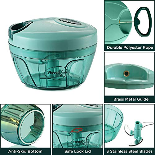 Pigeon Polypropylene Mini Handy and Compact Chopper with 3 Blades for Effortlessly Chopping Vegetables and Fruits for Your Kitchen (12420, Green,... 5
