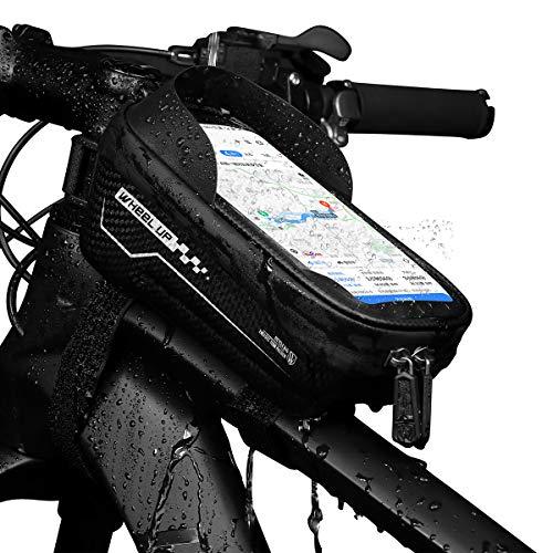 Borsa per Telaio Bici, Custodia Impermeabile per Bici, Custodia per Cellulare con Supporto per Touchscreen per iPhone XS MAX XS X 8 7 6 6S Plus Smartphone Inferiore a 6.5 Pollici