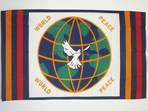 AZ FLAG Flagge WELTFRIEDEN 150x90cm - Frieden IN DER Welt Fahne 90 x 150 cm - flaggen Top Qualität
