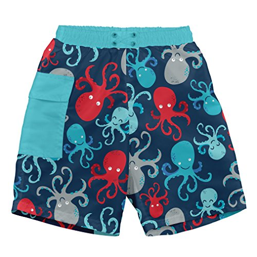 i play. by green sprouts baby-boys Trunks with Built-in Reusable Swim Diaper,Navy Octopus,24 mo