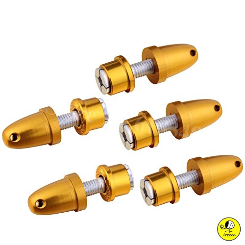 5 x adaptadores de helice Aluminio 3,0 / 3,17 / 4,0 mm con Eje de 5 mm para Motores Brushless deTrecce (Oro, 4.00)